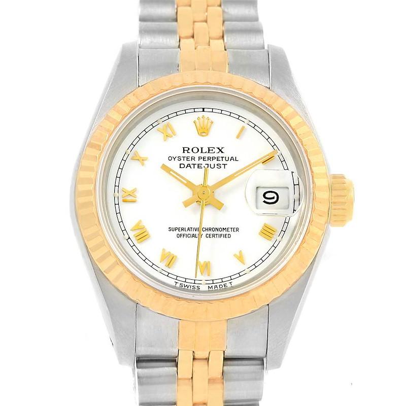 Rolex Datejust Steel Yellow Gold White Roman Dial Ladies Watch 69173 SwissWatchExpo