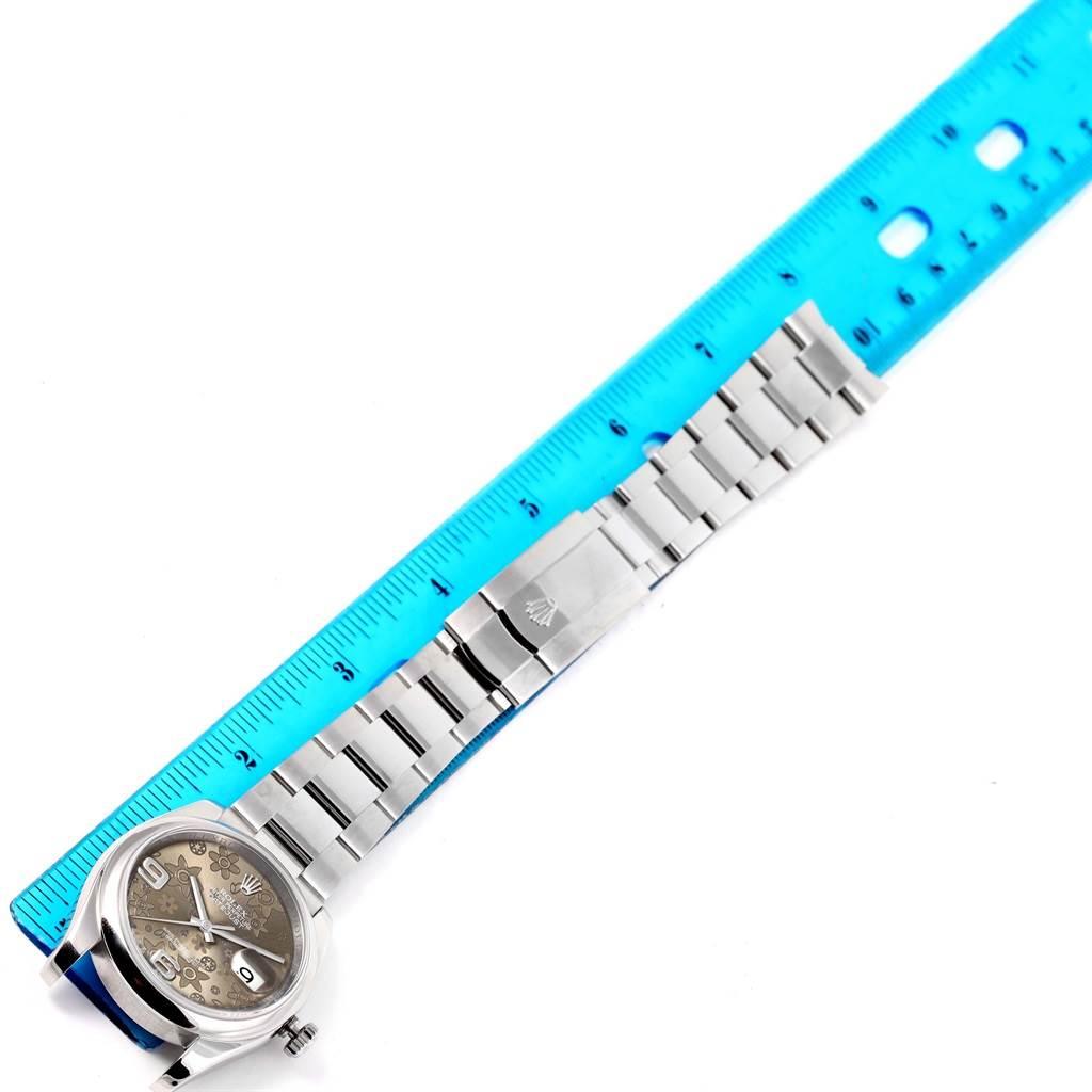 Rolex Datejust 36 Bronze Floral Dial Oyster Bracelet Steel Watch 116200 SwissWatchExpo
