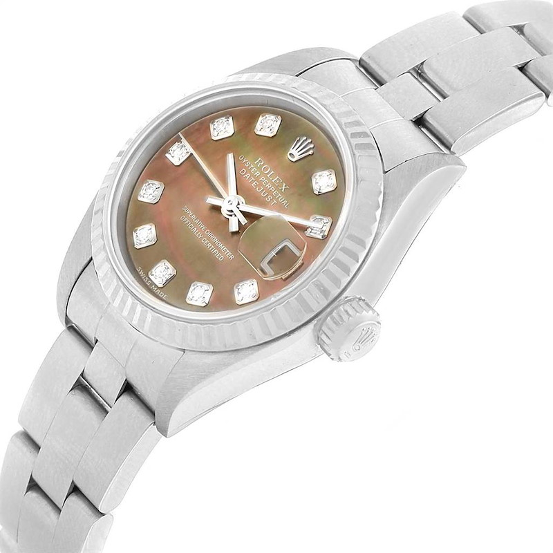 Rolex Datejust Tahitian MOP Diamond Steel White Gold Ladies Watch 79174 SwissWatchExpo