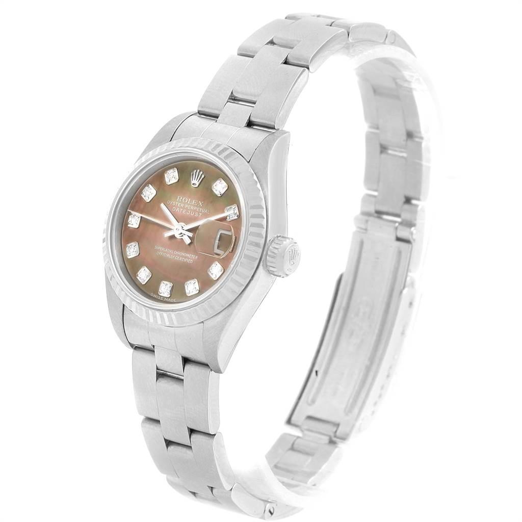 16714 Rolex Datejust Tahitian MOP Diamond Steel White Gold Ladies Watch 79174 SwissWatchExpo