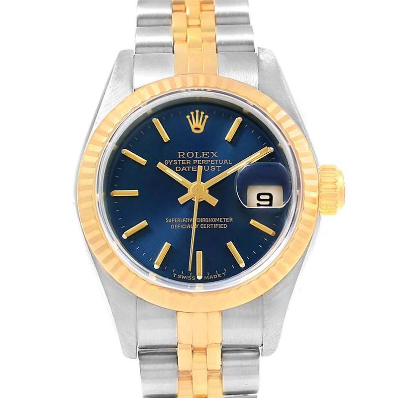 Rolex Datejust 26 Steel Yellow Blue Dial Ladies Watch 69173 SwissWatchExpo