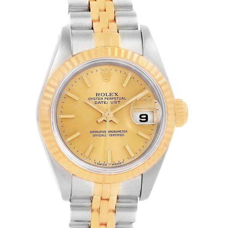 Rolex Datejust 26 Steel Yellow Gold Fluted Bezel Ladies Watch 69173 SwissWatchExpo