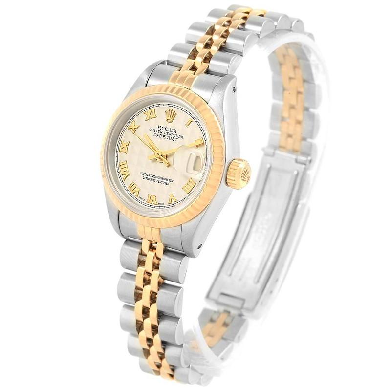 Rolex Datejust Steel Yellow Gold Ivory Pyramid Dial Ladies Watch 69173 SwissWatchExpo
