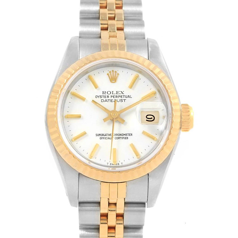 Rolex Datejust 26 Steel Yellow Gold White Dial Ladies Watch 69173 SwissWatchExpo