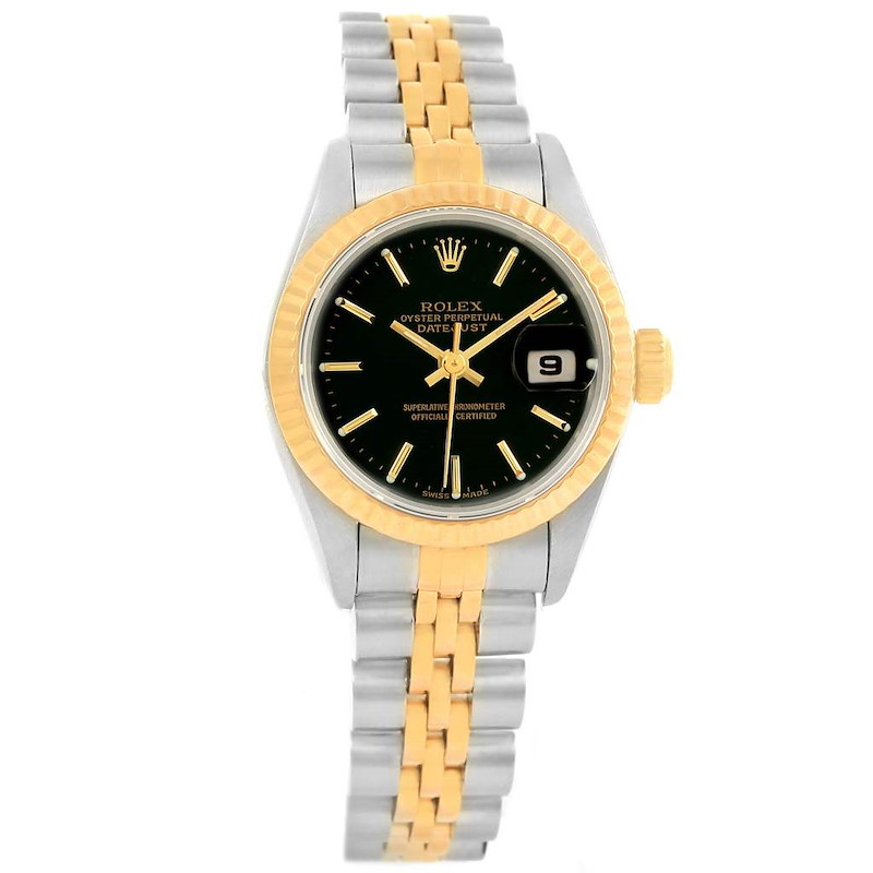 Rolex Datejust 26 Steel Yellow Gold Black Dial Ladies Watch 79173 SwissWatchExpo