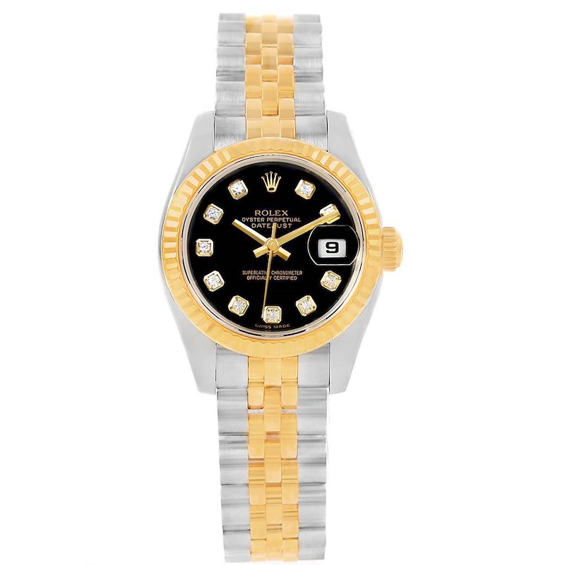 Rolex Datejust Steel Yellow Gold Diamond Ladies Watch 179173 Box Card SwissWatchExpo