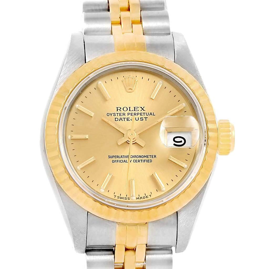 Rolex Datejust 26 Steel Yellow Gold Baton Dial Ladies Watch 69173 SwissWatchExpo