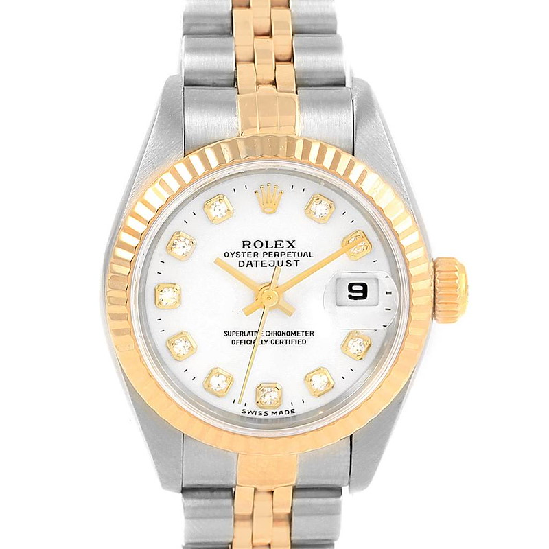 Rolex Datejust 26 Steel Yellow Gold Diamond Ladies Watch 79173 Box Papers SwissWatchExpo