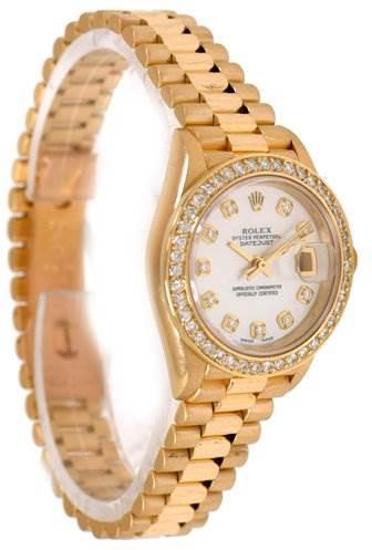 Rolex Ladies 18k Gold Diamond President Datejust 69178 SwissWatchExpo