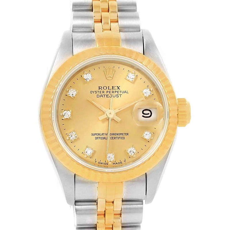 Rolex Datejust Yellow Gold Steel Diamond Dial Ladies Watch 69173 Box SwissWatchExpo