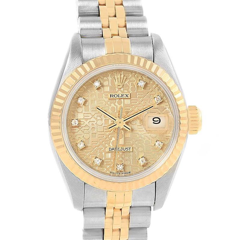 Rolex Datejust 26 Yellow Gold Steel Diamond Dial Ladies Watch 69173 SwissWatchExpo