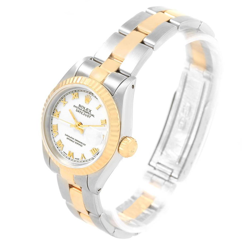 Rolex Datejust Steel Yellow Gold White Roman Dial Ladies Watch 69173 SwissWatchExpo