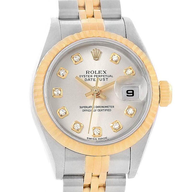 Rolex Datejust Steel Yellow Gold Silver Diamond Dial Ladies Watch 79173 SwissWatchExpo