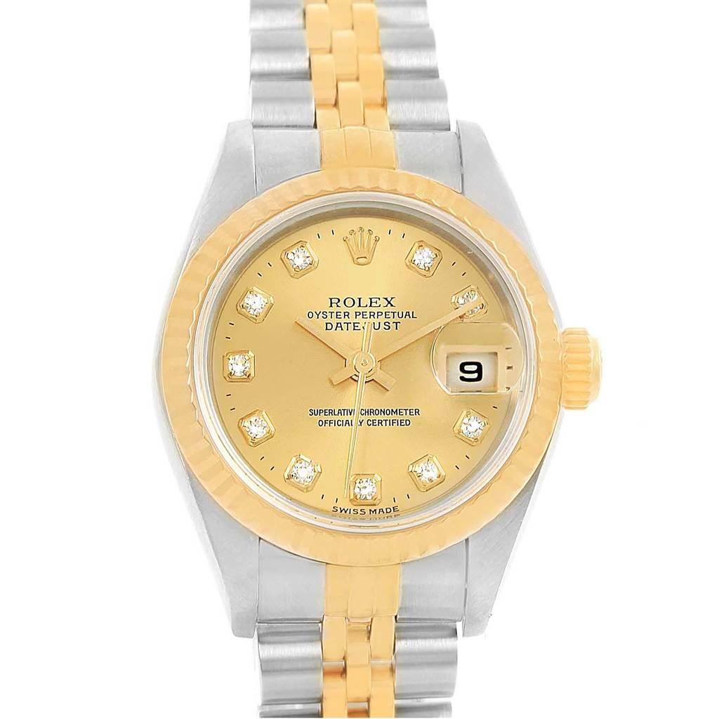 17369 Rolex Datejust 26 Yellow Gold Steel Diamond Dial Ladies Watch 69173 SwissWatchExpo