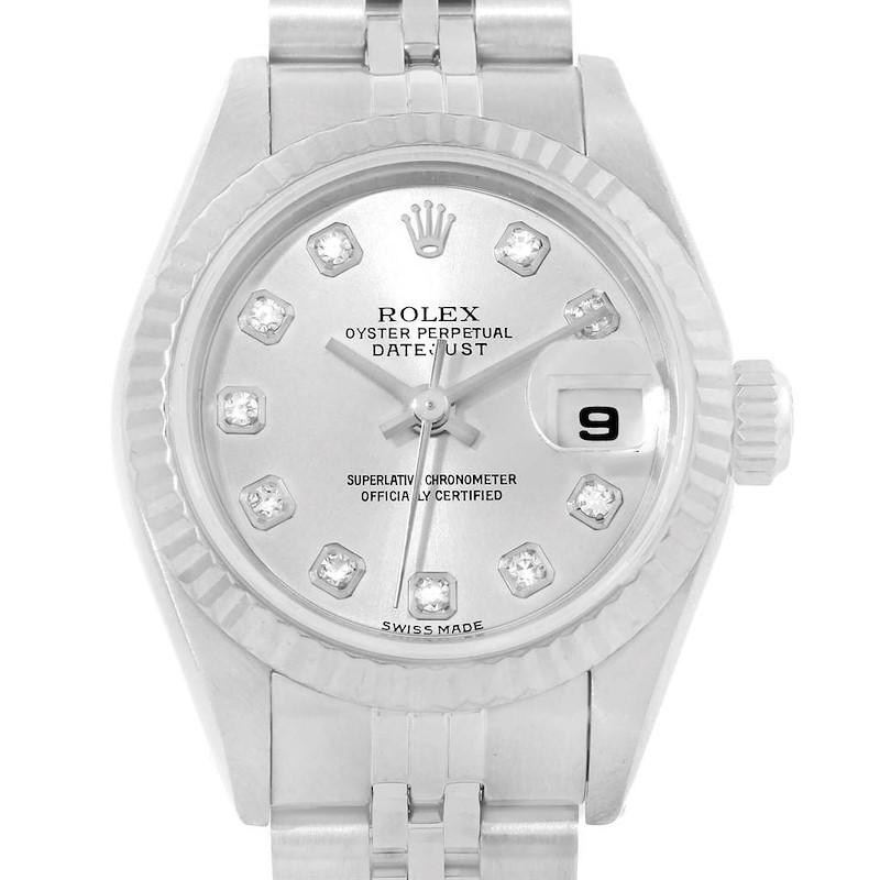 Rolex Datejust 26 Steel White Gold  Diamond Ladies Watch 79174 SwissWatchExpo