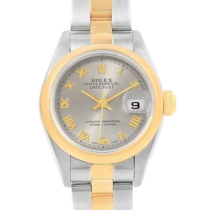 Rolex Datejust Steel Yellow Gold Slate Dial Ladies Watch 69163 SwissWatchExpo
