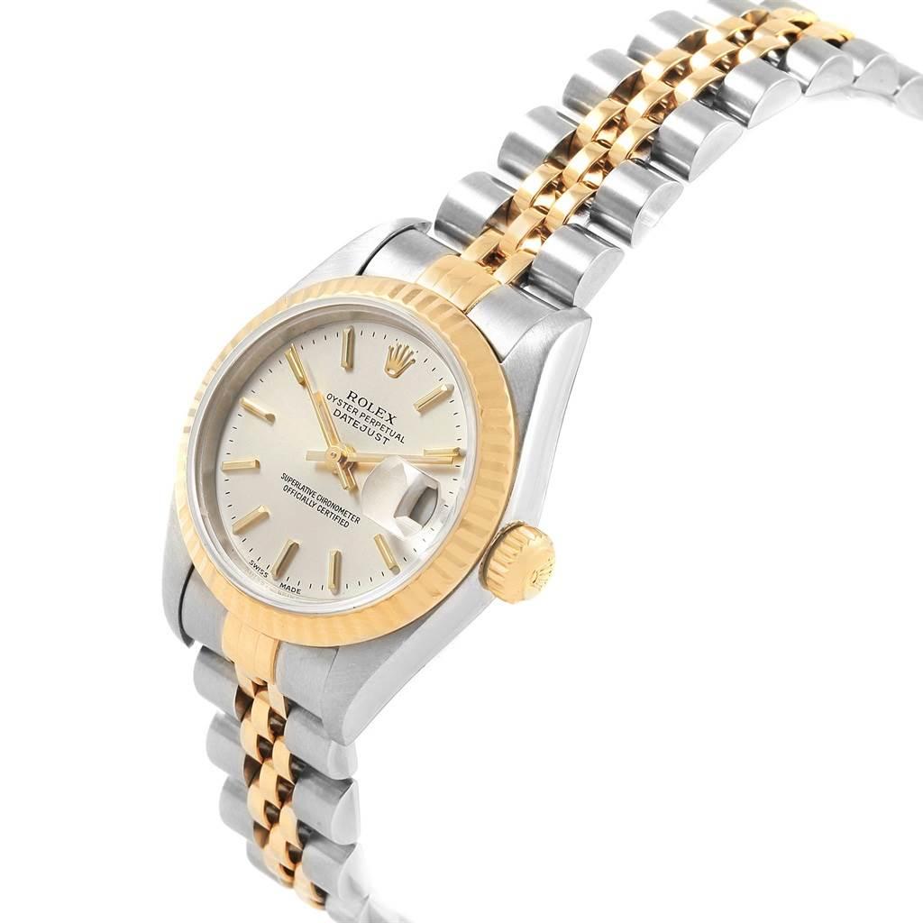 Rolex Datejust Steel Yellow Gold Silver Baton Dial Ladies Watch 79173 SwissWatchExpo