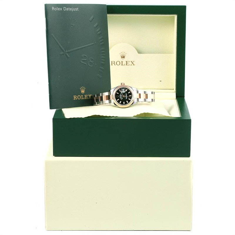 Rolex Datejust 26 Steel EveRose Gold Black Dial Ladies Watch 179161 SwissWatchExpo