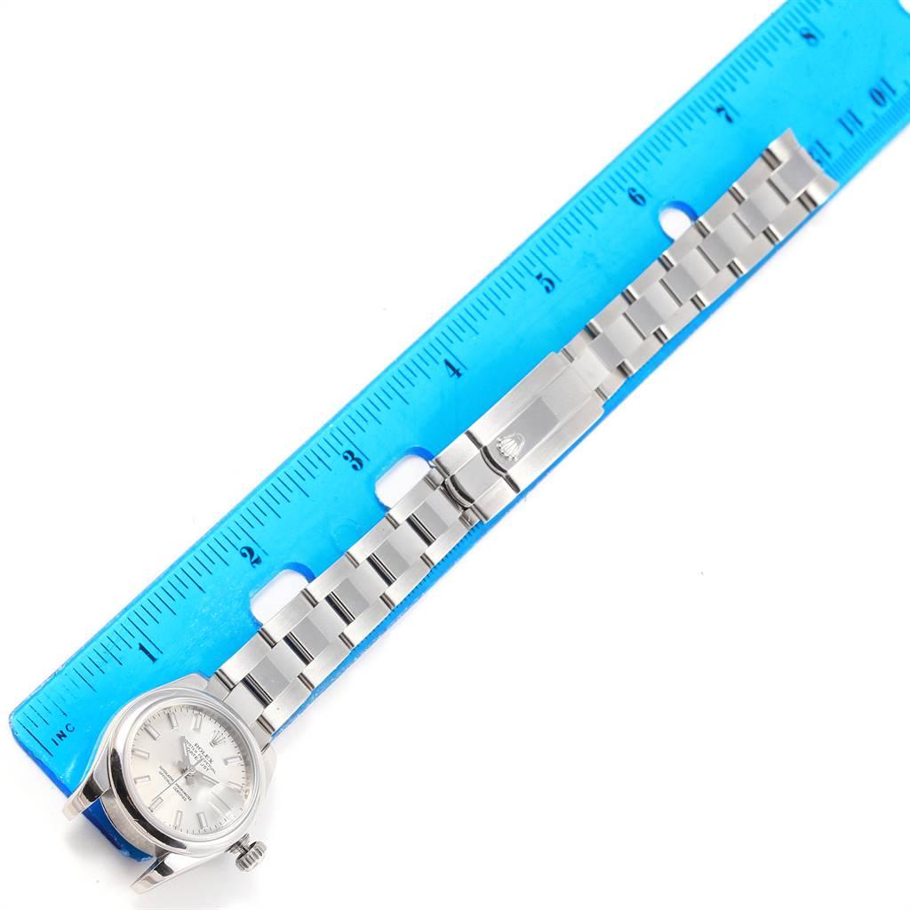 Rolex Datejust Silver Baton Dial Oyster Bracelet Ladies Watch 179160 SwissWatchExpo