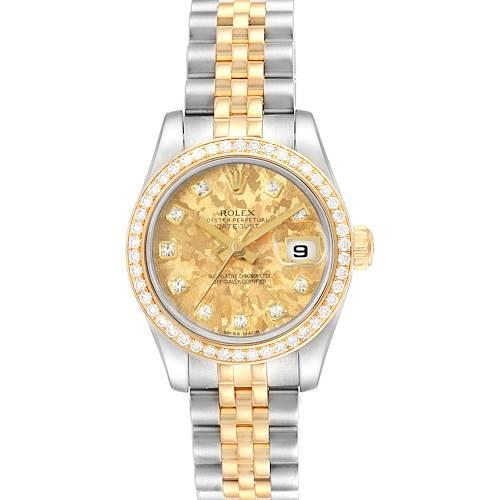 Photo of Rolex Datejust 26 Steel Yellow Gold Diamond Ladies Watch 179383 Box Card