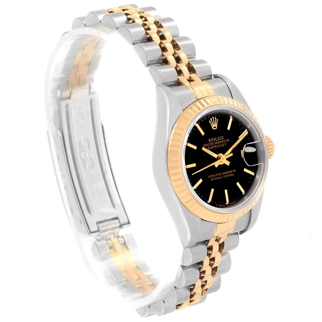 Rolex Datejust 26 Steel Yellow Gold Black Tapestry Dial Ladies Watch 79173 SwissWatchExpo