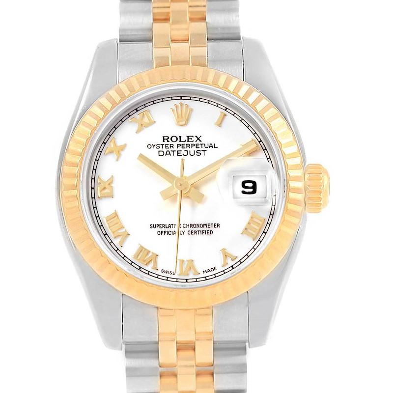 Rolex Datejust Steel Yellow Gold White Roman Dial Ladies Watch 179173 SwissWatchExpo