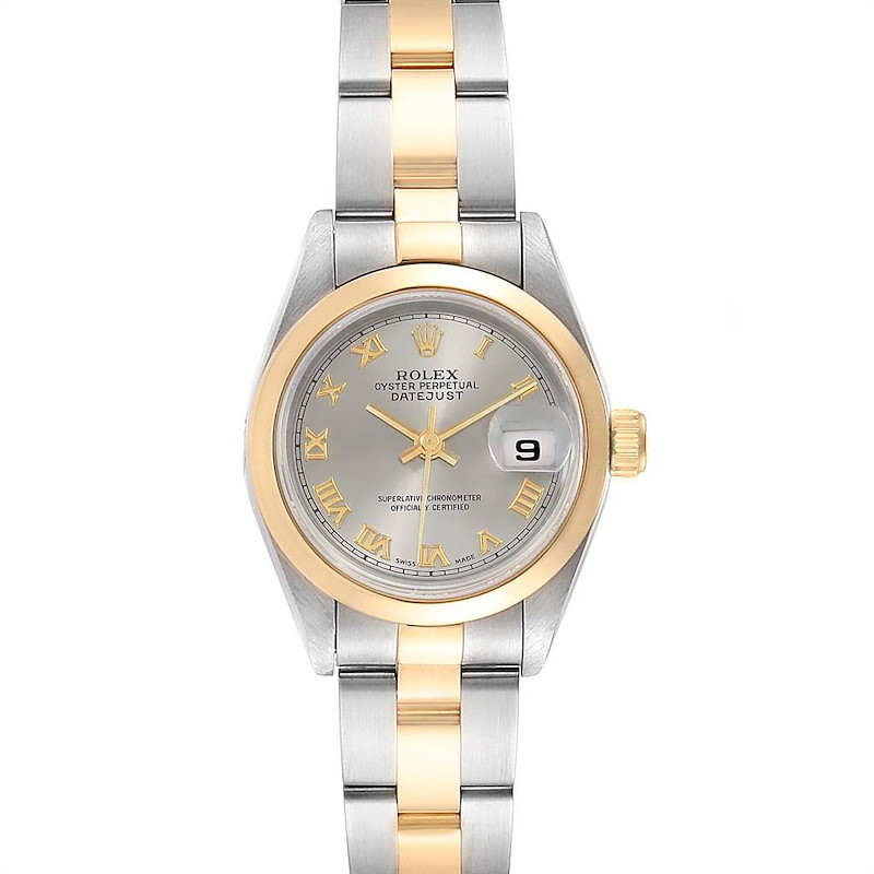 Rolex Datejust 26mm Steel Yellow Gold Slate Dial Ladies Watch 69163 SwissWatchExpo