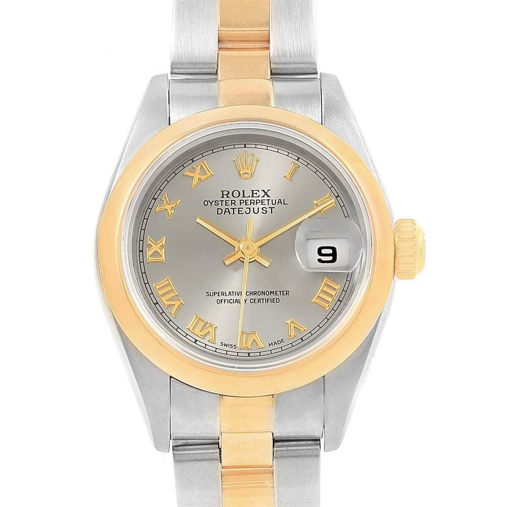 18113 Rolex Datejust Steel Yellow Gold Slate Dial Ladies Watch 69163 SwissWatchExpo