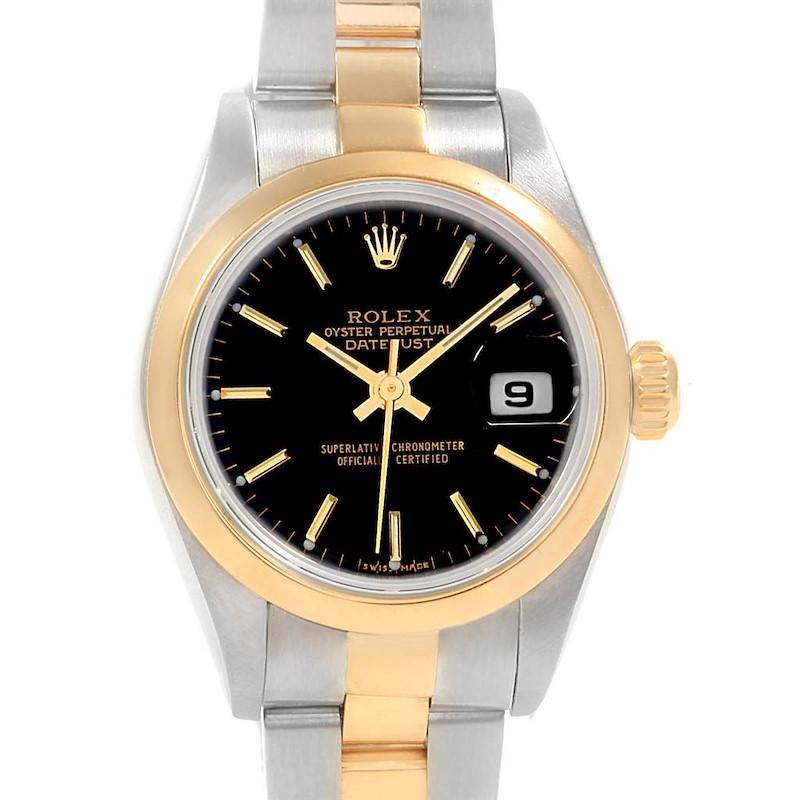Rolex Datejust 26 Steel Yellow Gold Black Dial Ladies Watch 79163 SwissWatchExpo