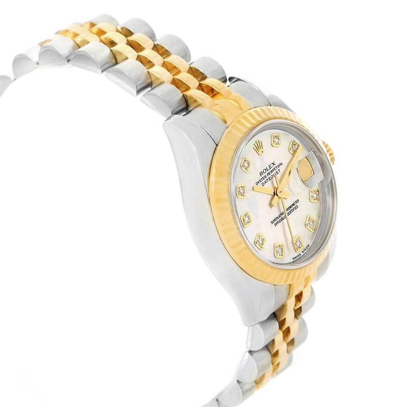 Rolex Datejust 26 Steel Yellow Gold MOP Diamond Watch 179173 Box Papers SwissWatchExpo