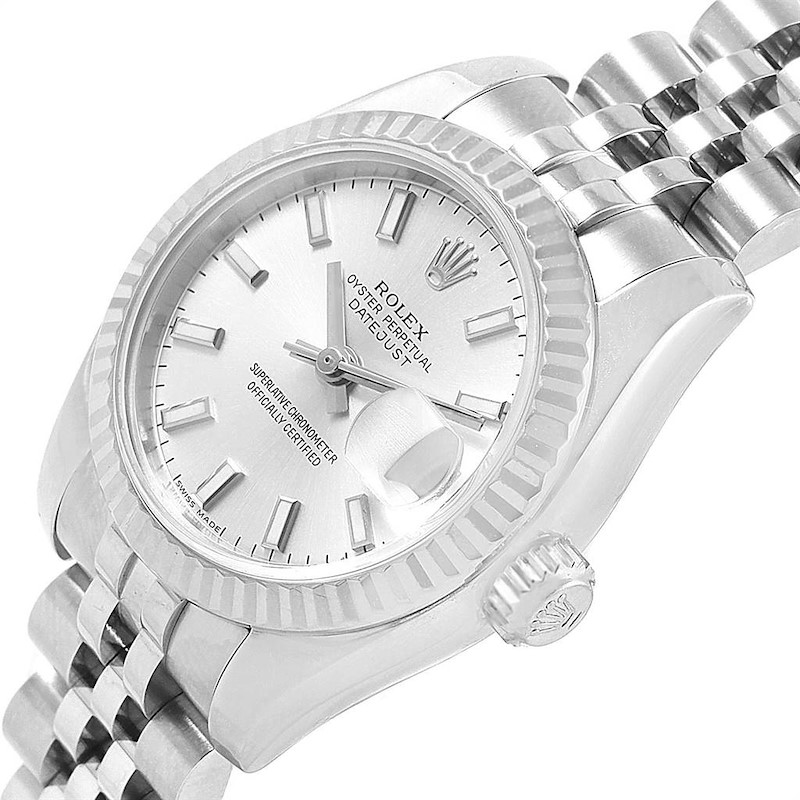 Rolex Datejust 26 Steel 18K White Gold Silver Dial Ladies Watch 179174 SwissWatchExpo