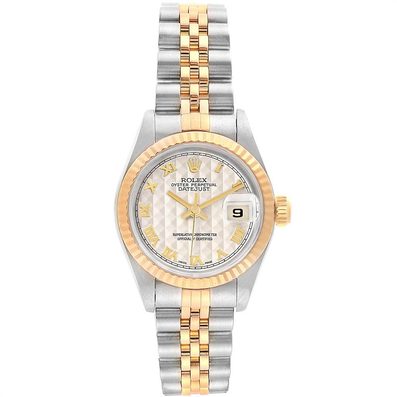Rolex Datejust Steel Yellow Gold Pyramid Roman Dial Ladies Watch 69173 SwissWatchExpo