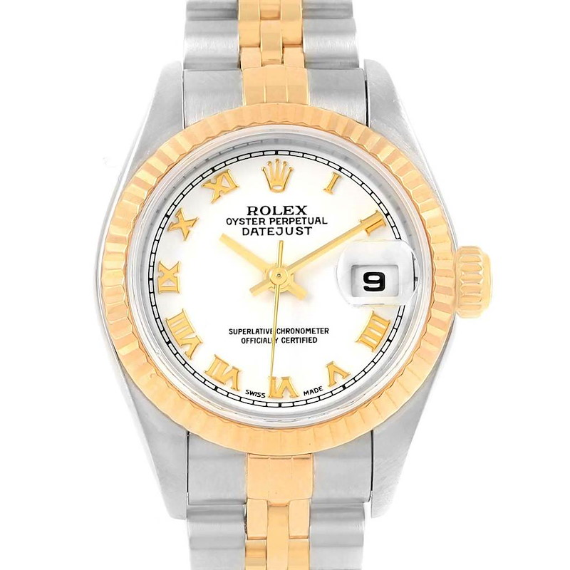 Rolex Datejust Steel Yellow Gold White Roman Dial Ladies Watch 79173 SwissWatchExpo