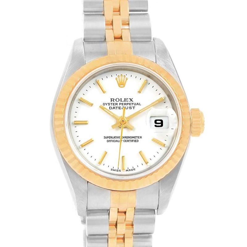 Rolex Datejust Steel Yellow Gold White Baton Dial Ladies Watch 79173 SwissWatchExpo