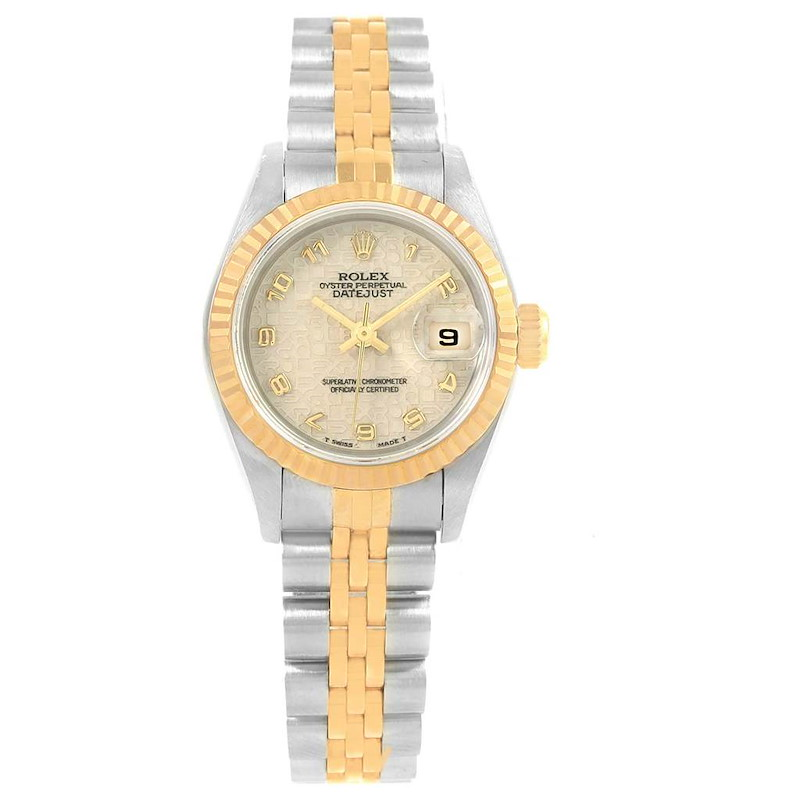 Rolex Datejust 26 Steel Yellow Gold Anniversary Dial Ladies Watch 69173 SwissWatchExpo