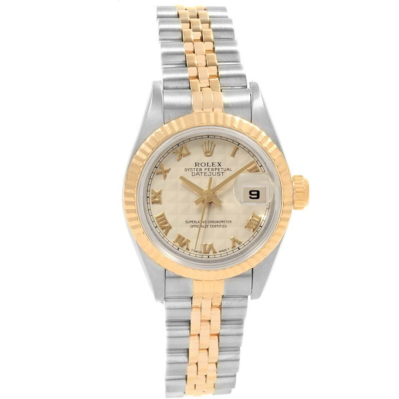 Rolex Datejust Steel Yellow Gold Ivory Pyramid Dial Ladies Watch 69173 SwissWatchExpo