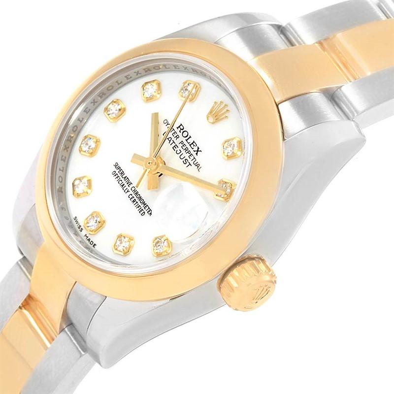 Rolex Datejust Steel Yellow Gold White Diamond Dial Ladies Watch 179163 SwissWatchExpo