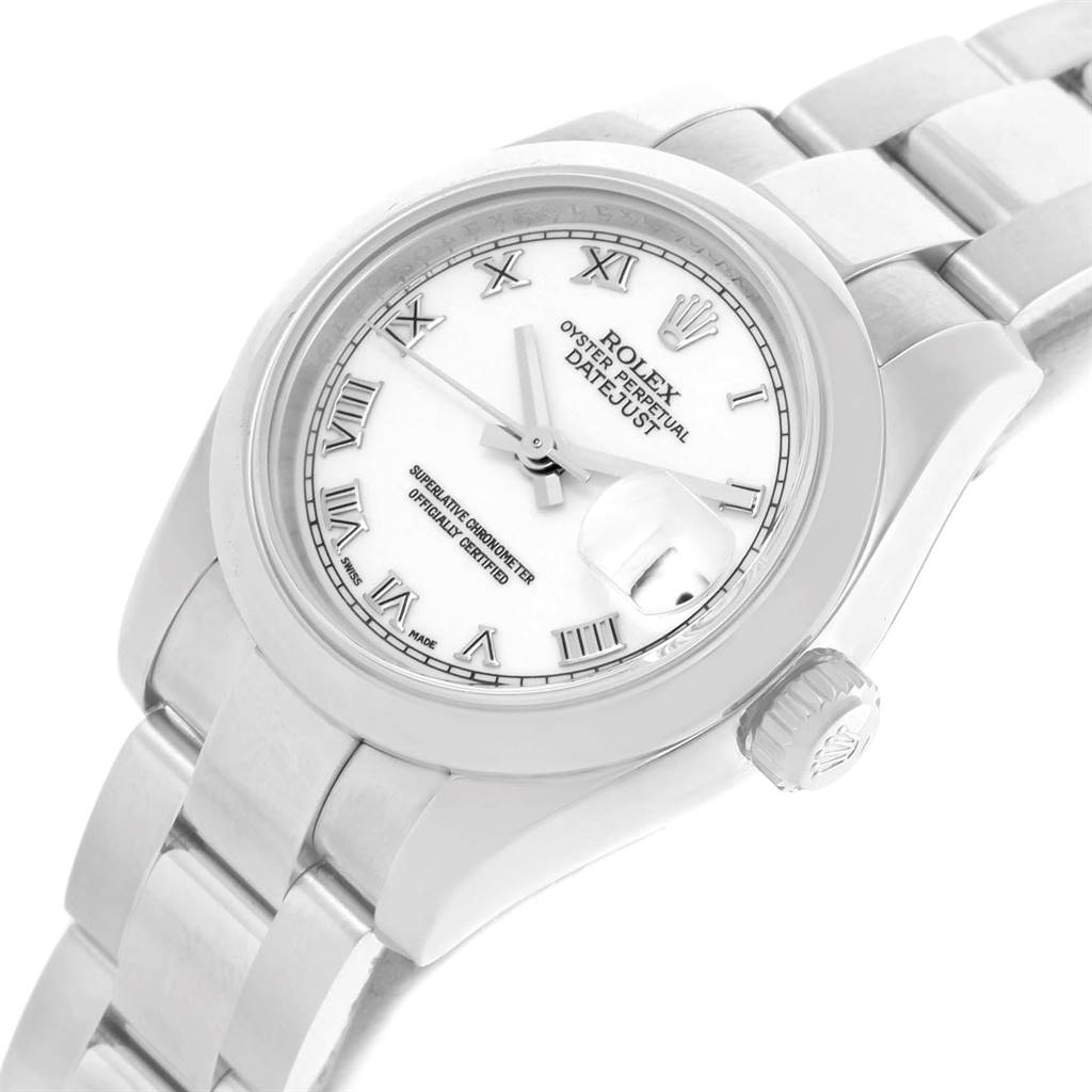 Rolex Datejust White Roman Dial Oyster Bracelet Ladies Watch 179160 SwissWatchExpo