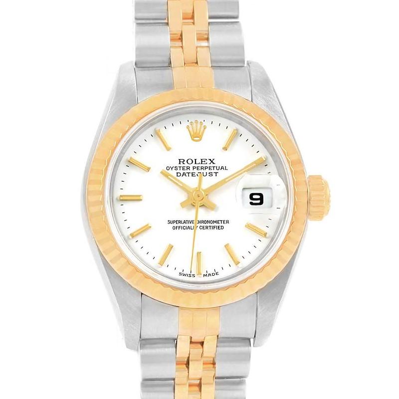 Rolex Datejust 26 Steel 18K Yellow Gold White Dial Ladies Watch 79173 SwissWatchExpo
