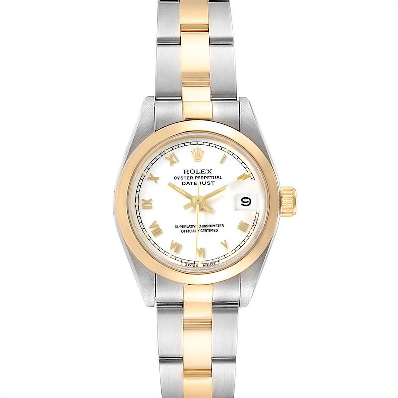 Rolex Datejust Steel Yellow Gold White Dial Ladies Watch 69163 SwissWatchExpo