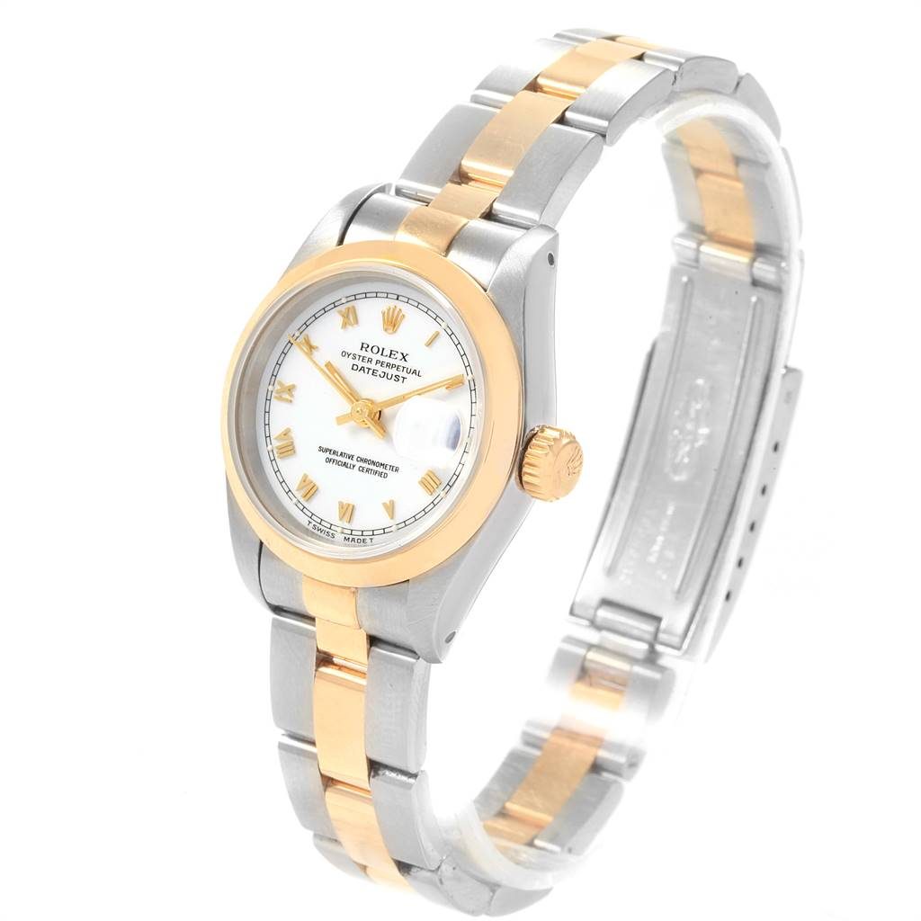Rolex Datejust Steel Yellow Gold White Dial Ladies Watch 69163 SwissWatchExpo