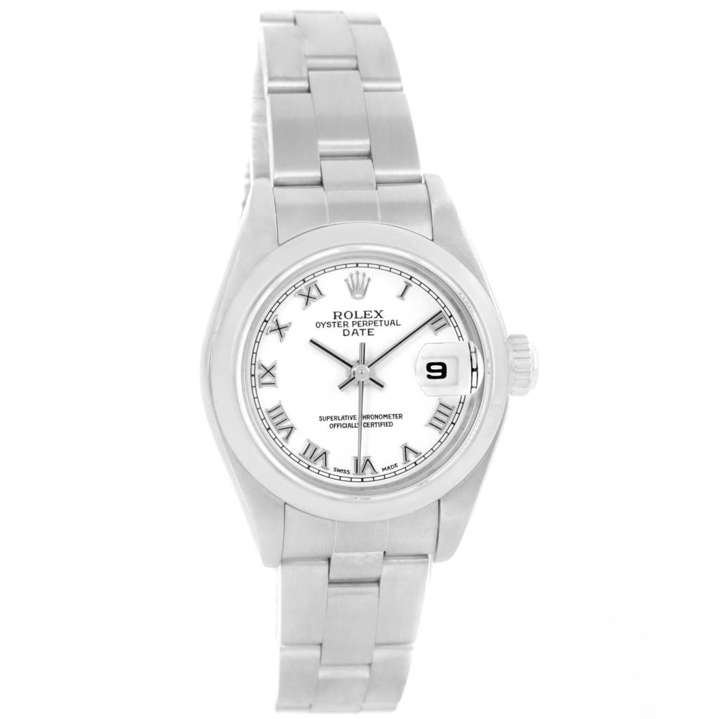 18552 Rolex Date 26 White Dial Oyster Bracelet Ladies Watch 79160 SwissWatchExpo