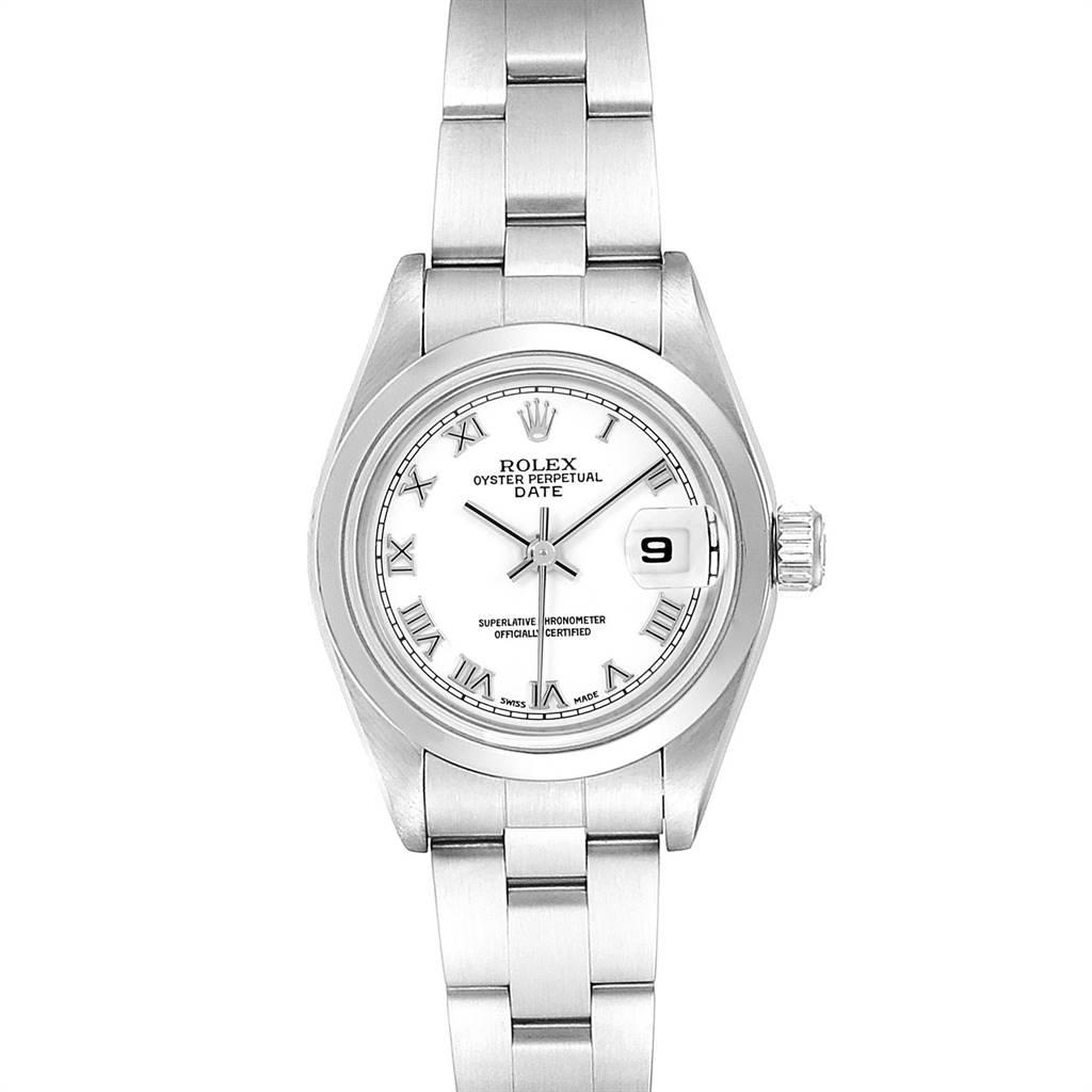 Rolex Date 26 White Dial Oyster Bracelet Ladies Watch 79160 SwissWatchExpo