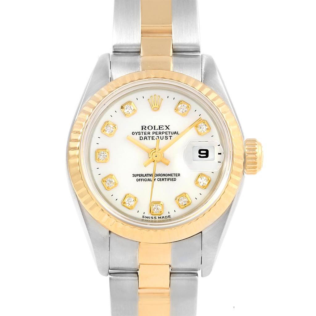 18522 Rolex Datejust Yellow Gold Steel White Diamond Dial Ladies Watch 69173 SwissWatchExpo