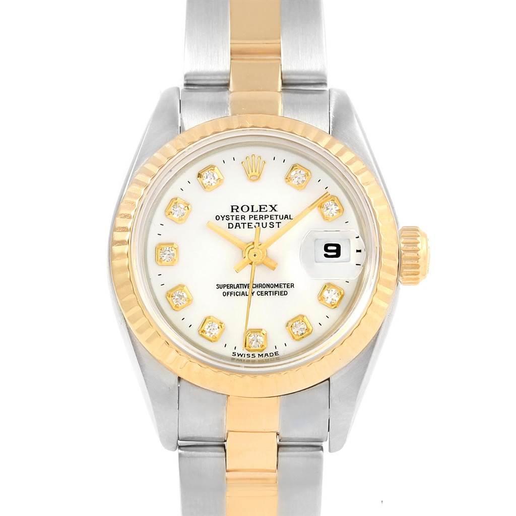 Rolex Datejust Yellow Gold Steel White Diamond Dial Ladies Watch 69173 SwissWatchExpo