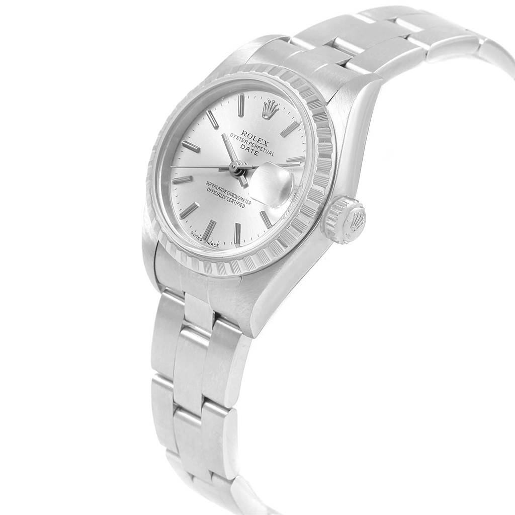 Rolex Date Silver Dial Oyster Bracelet Ladies Watch 79240 Box SwissWatchExpo