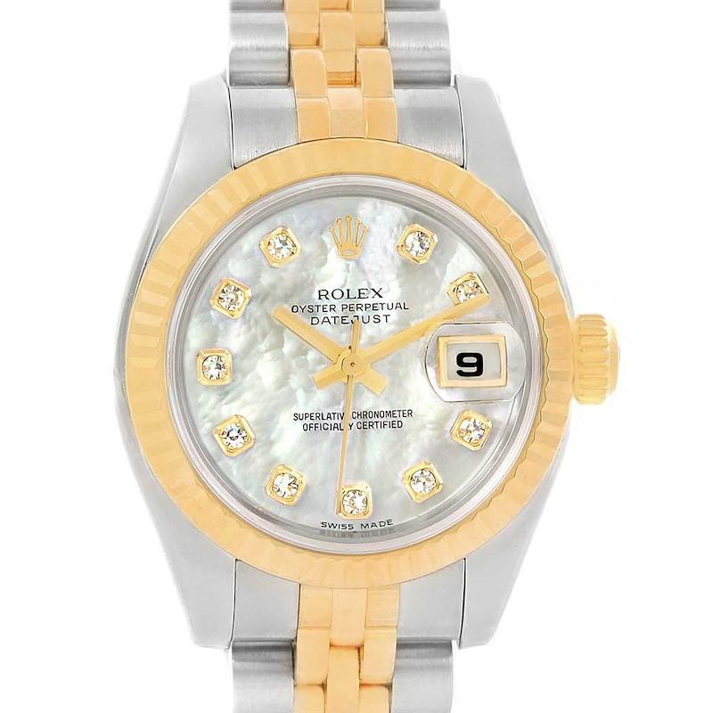 Rolex Datejust 26 Steel Yellow Gold MOP Diamond Ladies Watch 179173 SwissWatchExpo
