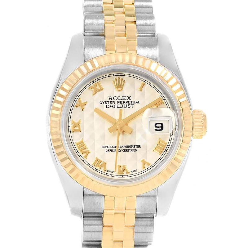 Rolex Datejust Steel Yellow Gold Pyramid Dial Ladies Watch 179173 Box papers SwissWatchExpo