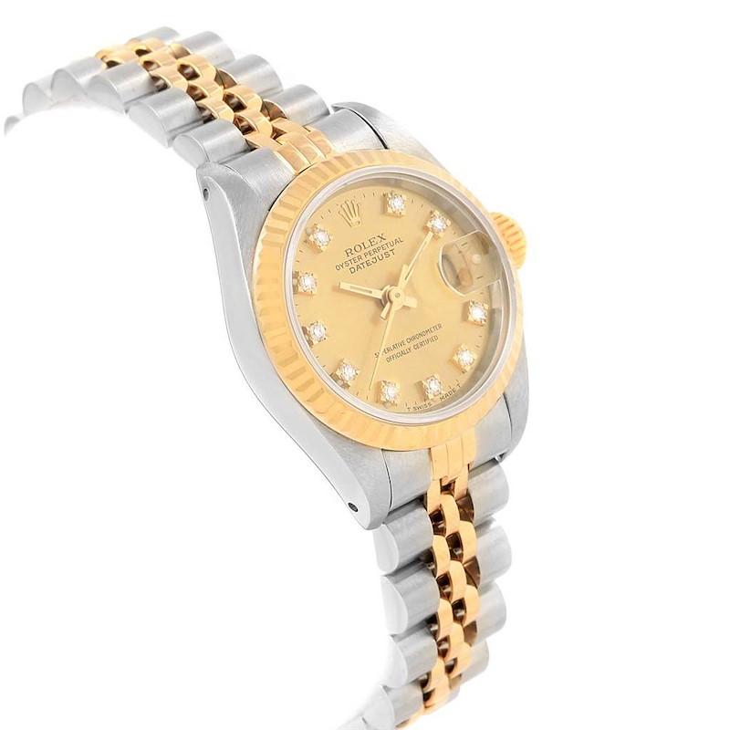 Rolex Datejust 26 Yellow Gold Steel Diamond Dial Womens Watch 69173 SwissWatchExpo