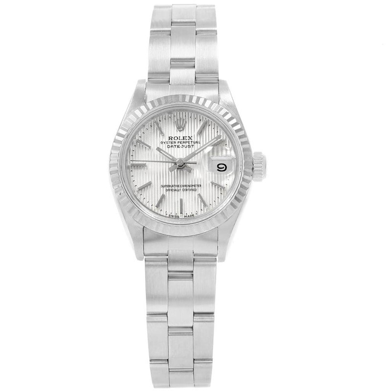Rolex Datejust 26 Steel White Gold Tapestry Dial Ladies Watch 69174 SwissWatchExpo